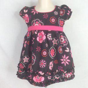 Oshkosh B'gosh Black Pink Floral Dress 12M